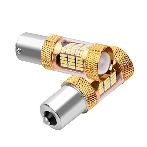 SanGlory 2 x Lampadine LED Auto Canbus P21W 1156 BA15S 54-SMD 4014 LED Ultra Luminoso Luce Retromarcia Posteriore Diurne Bianca Xenon 6000K, DC 12V (54 LED 1156)