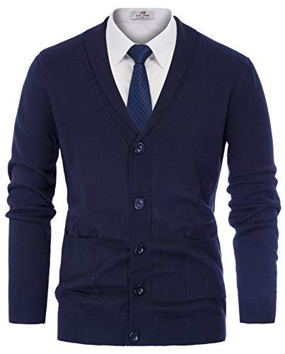 PAUL JONES Men's Shawl Collar Ribbed Edge Cardigan Sweater with 2 Pockets Size XL Navy Blue