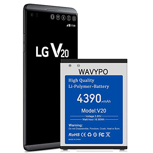 (Upgraded) LG V20 Battery, 4390mAh Wavypo Replacement Battery Li-Polymer for LG V20 BL-44E1F H910 H918 VS995 LS997 US996, V20 Spare Battery