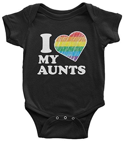 Threadrock Baby I Love My Aunts Infant Bodysuit 6 Months Black