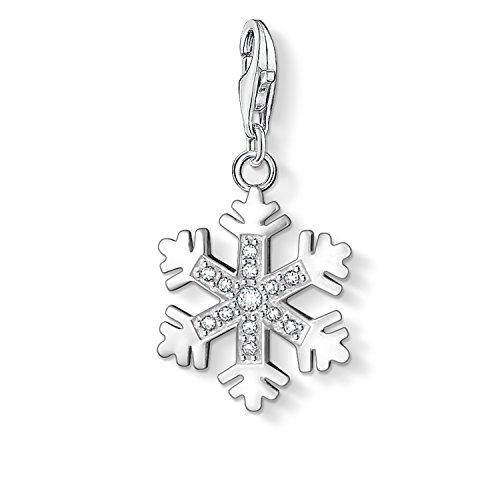 Thomas Sabo Damen-Charm-Anhänger Schneeflocke Winter Charm Club 925 Sterling Silber Zirkonia weiß 0608-051-14