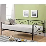 Daybed Frame Twin Size Metal Platform Day Bed Heavy Duty Box Spring Replacement Living Guest Room,Mattress not Include