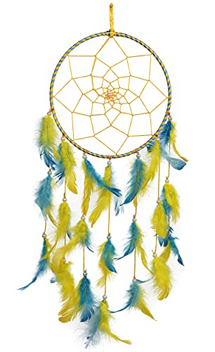 ILU® Dream Catchers, Wall Hangings, Home Decor, Handmade Dreamcatcher for Bedroom, Balcony, Garden, Party, Cafe, Small Ring Beaded Yellow & Blue Feathers, 17cm Diameter, Length 51cm