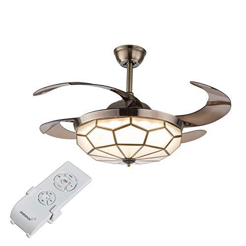 Ventilador de techo con iluminación, 42 pulgadas, lámpara LED de techo con ventilador y mando a distancia, estilo Tiffany