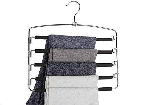 Trousers Hangers, Space-Saving Multi-Bar Metal Pants Hangers, Black Foam Padded,Stable with Non-Slip Padding, Swing Bars for 5 Jeans Each, Suit Pants, Scarves, Ties .