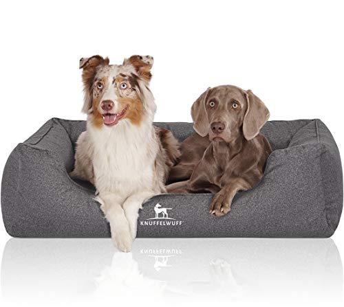 Knuffelwuff Orthopädisches Hundebett, wasserabweisend, waschbar, handgewebte Materialoptik XL 105 x 75cm Grau