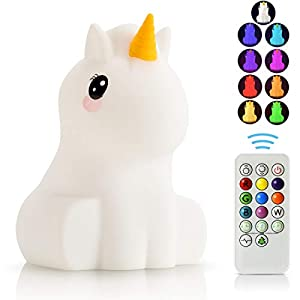 LED Nursery Night Lights for Kids -USB Rechargeable Animal Silicone Lamps with Touch Sensor and Remote Control -Portable Color Changing Glow Soft Cute Baby Infant Toddler Gift (Unicorn)