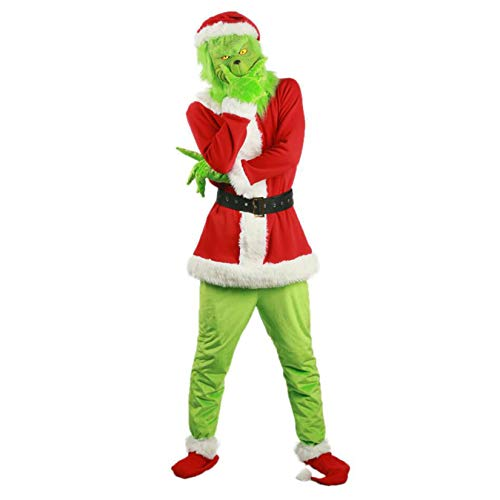 Christmas Santa Grinch Costume Adult Santa Suit Green Outfit with Funny Mask Santa Beard Wig (M, Grinch Costume)
