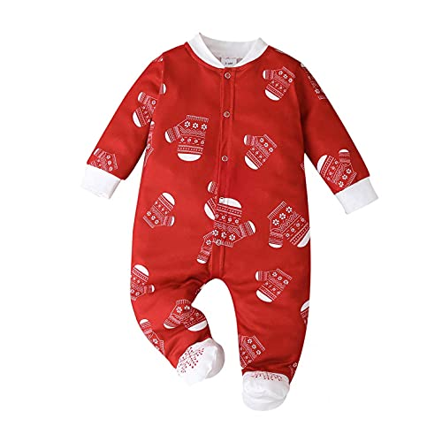 Mono de Navidad para bebé, otoño e invierno, con impresión navideña., rojo, 9- 12 Meses