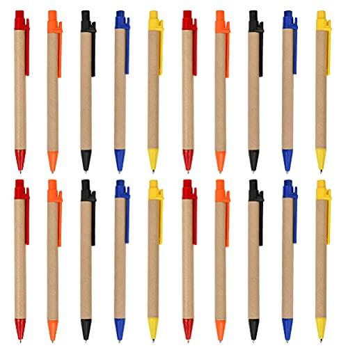 YOTINO 100 Stück kugelschreiber Kraftpapier Großpackung Kugelschreiber Schwarze Tintenschreiber 0,7 mm Mittelspitzen-Kugelschreiber für Schulbüros- Mehrfarbig