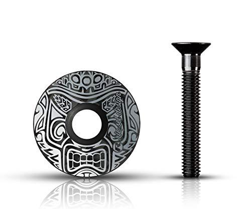 Riesel Design - stem:Cap - 1x Ahead Kappe inkl. Aluschraube für Rennrad, Cyclocrosser, Gravelbike & Mountainbike/Vorbau- & Steuersatz Kappe für alle Gabelschäfte/Vorbauten mit 1 1/8'' - Maori Grey