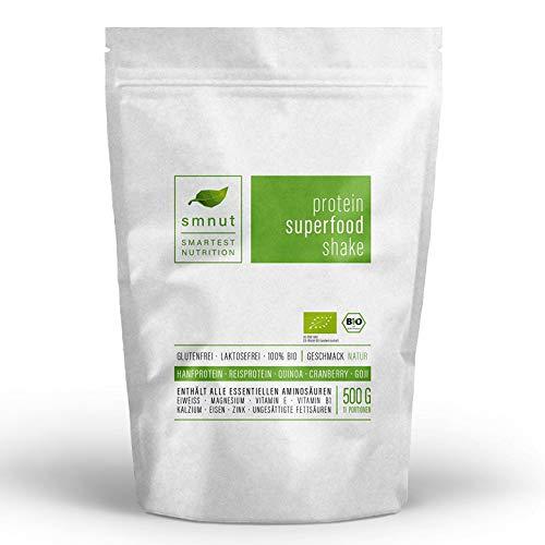 Bio Vegan Protein Shake NATUR 500g | Hanf- und Reisprotein mit Superfoods | Ohne Zusätze, Laktosefrei und Glutenfrei | Stärkt das Immunsystem | Mit Quinoa, Goji-Beeren und Cranberry