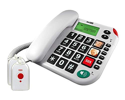 G-TELWARE®in - Teléfono fijo para personas mayores con mando a distancia SOS (4 pilas, adaptador TAE/NFF, 2 mandos a distancia con correa)