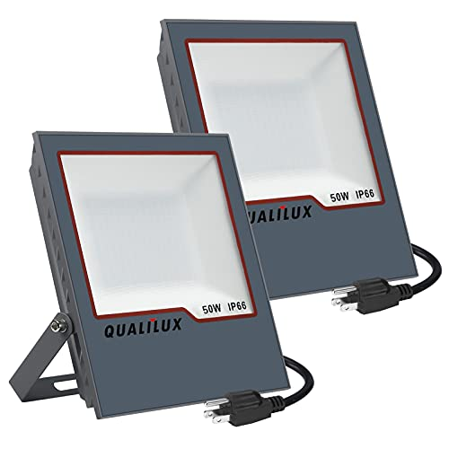 QUALILUX LED 50W=300W Halogen, 2-Pack Plug in Flood Light Outdoor, 5000LM, 6000K Daylight+ White, Waterproof IP66, 59in Wire Work Light, for Billboard, Playground, Garden, Warehouse, Outdoor Security