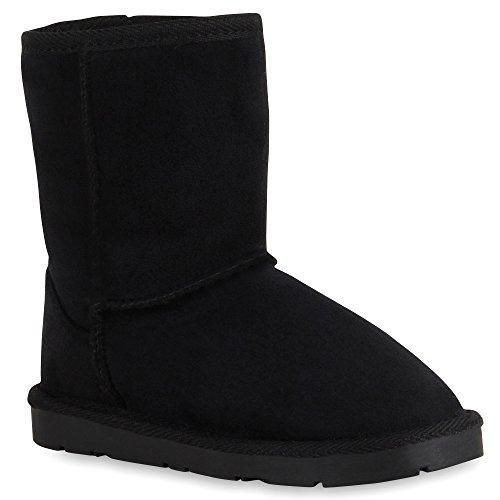 Warm Gefütterte Damen Schuhe Stiefel Schlupfstiefel Leder-Optik 127376 SchwarzAll Black 39 Flandell