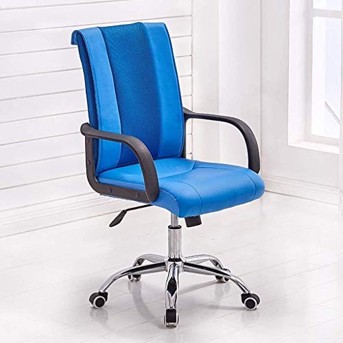 office chair Fhw, Faux Leather Ergonomic Executive Chair Swivel Desk Chair with Chrome Base, Rocking N Height Adjustable Modern Minimalist Lounge Chair (Color : Blue)