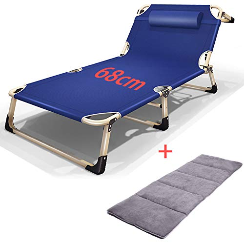 Kantoor Aan Huis Opklapbed Liggend Bed Binnen Buiten Camping Lounge Stoel Dutje Bed Dubbele Oxford-Stof Volwassene Opklapbed,Blue,With cushion A