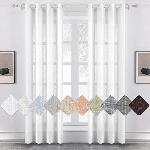 MIULEE 2er Set Voile Vorhang Sheer Leinenvorhang mit Ösen Transparent Leinen Optik Gardine Ösenschal Wohnzimmer Fensterschal Lichtdurchlässig Dekoschal Schlafzimmer 140x145cm (B x H) Weiß