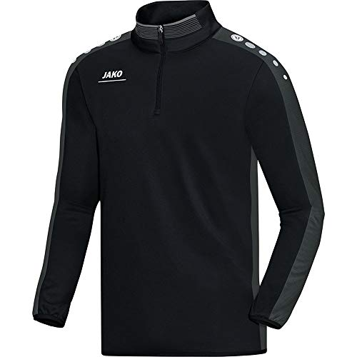 JAKO Fleece Ziptop Team, Schwarz/Grau, 152