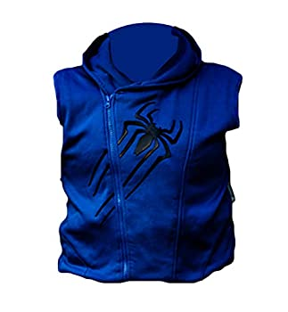 Scarlet Spider Hoodie Vest for Men Faux Leather Outwear Costume 2020 Cosplay/Halloween  XXX-Large Blue