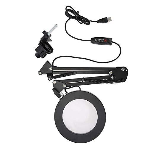 GOTOTOP - 5 x Lámpara de pared LED con lente de ampliación, rotación de 360°, luz fría y cálida ajustable, lámpara de trabajo cosmético para tatuajes, manicura, trabajo diario y estudio