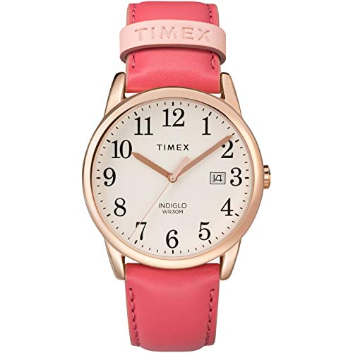 Timex Women's TW2R62500 Easy Reader 38mm Pink/Rose Gold-Tone Leather Strap Watch