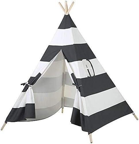 SIER Kinderzelt, überdimensionales Spielhaus, Babyhaus, Spielzeughaus, Schlafzelt 110  150CM (grau-Weiße Streifen),Black