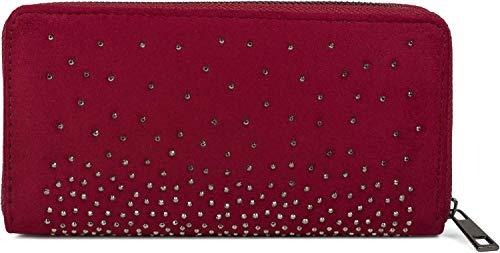 styleBREAKER Damen Geldbörse mit Strass Nieten, Reißverschluss, Portemonnaie 02040111, Farbe:Bordeaux-Rot