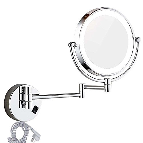 DOWRY Wall Mounted LED Lighted Vanity Makeup Mirror with 10x Magnification,Double-Sided, On/Off -