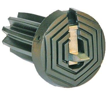 Patent Gummipuffer Polyurethan schwarz mit ausklappbarem Spike für Gehstöcke aus Holz und Metall, flexibler Schaft für Durchmesser von ca. 17-22 mm