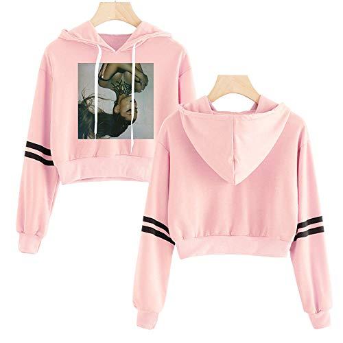 MissAc Frauen Hoodie Kurzer Pullover Ariana Grande Bedruckter Hoodie Süßes Langarm Sweatshirt des Jugendlich Mädchens