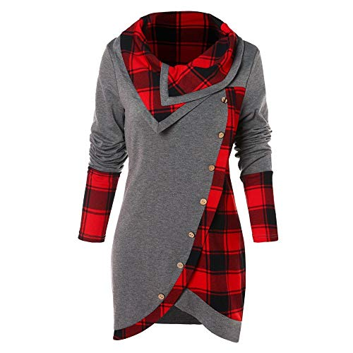 Best Buy! Amlaiworld Women Plus Size Sweater Long Sleeve Plaid Turtleneck Blouse Tunic Sweatshirt Pu...