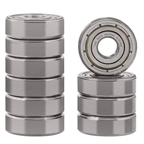 XiKe 10 Pcs 604ZZ Double Metal Seal Bearings 4x12x4mm, Pre-Lubricated and Stable Performance and Cost Effective, Deep Groove Ball Bearings.