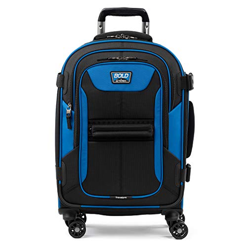"Travelpro Bold 21"" Carry-on, Expandable Spinner Luggage With Easy-access Tablet Sleeve, Blue/Black"