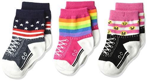 K. Bell Baby Girls Super Soft Novelty Crew Socks (3 Pair), Rainbow/Blue/Pink/white (rainbow Stripe), 12-24 Months