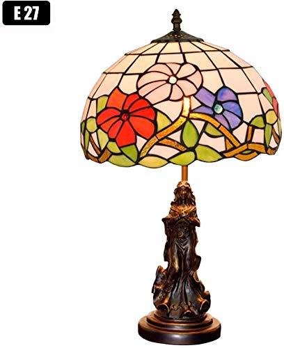 Aaedrag 12 Pouces en Verre Rose Rouge Lampshade E27 Lampes de Table Salon Vintage Lampe de Table Chambre Lampe de Chevet, Lampe de Chevet Bureau for Enfant, Base Antique Angel [Classe énergétique A]