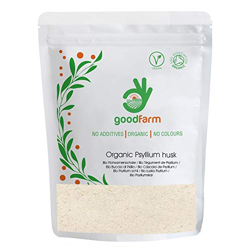 GoodFarm Organic Psyllium Husk 500g - Certified Organic, Premium Quality | 99% Purity | Vegan | Rich in Fibre | Excellent for Digestion, GFPSHU000500H0