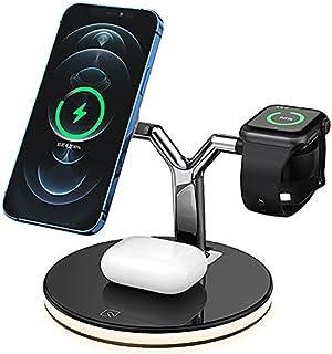 شاحن لاسلكي QI 3 في 1 مغناطيسي 25 وات لشحن سريع لهواتف iPhone 12 pro Max-11-Xs لساعة apple للطائرات