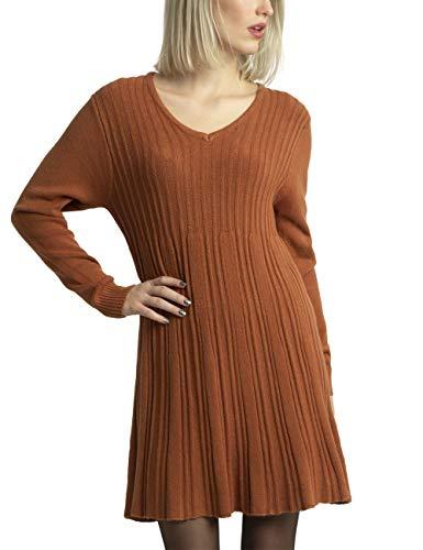APART stylishes Damen Kleid, Strickkleid, Kaschmir-Anteil, ausgestellter Rockpart, figurschmeichelndes Design, karamel, 40