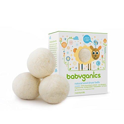 Babyganics Natural Wool Laundry Dryer Balls, 3 ct, Packaging May Vary