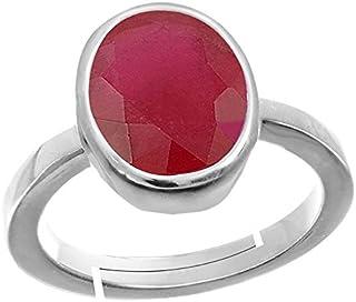GEMS HUB Ruby/Manik Stone Silver Adjustable Ring for Men