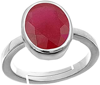 GEMS HUB 6.00 Ct.-6.50Ct. Ruby/Manik Stone Silver Adjustable Ring for Men…