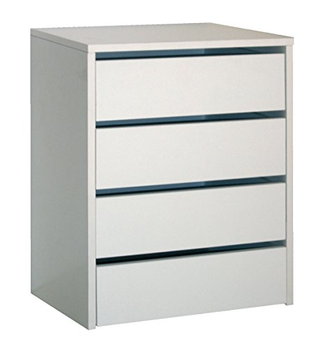 Abitti Cajonera de Armario Color Blanco Brillo, 4 cajones, Mueble Auxiliar para Almacenamiento Extra. 61cm Altura x 46cm Ancho x 45cm Fondo