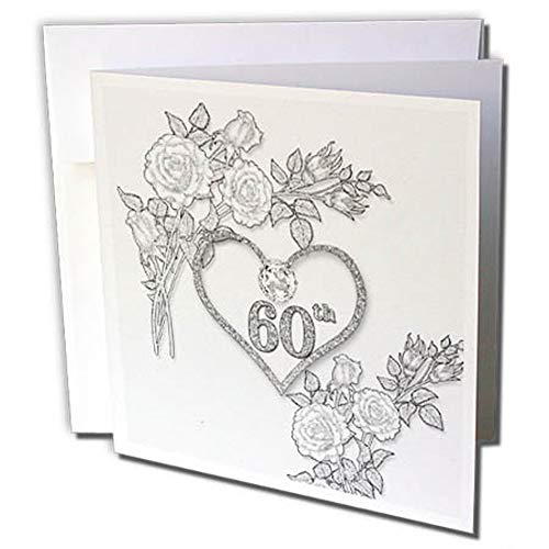 3dRose gc_264588_2 6 x 6 cm60:e diamant bröllopsdag ord konst med hjärta på linne vit gratulationskort (set med 12)