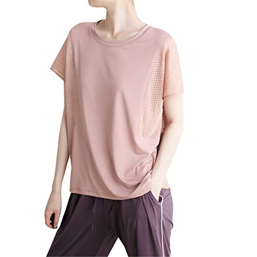 HHYSPA New Loose Workout Tops Shirts for Women Athletic Yoga Tops Gym Exercise Racerback Sports Ladies Yoga Gym Top T Shirt (S,Pink)