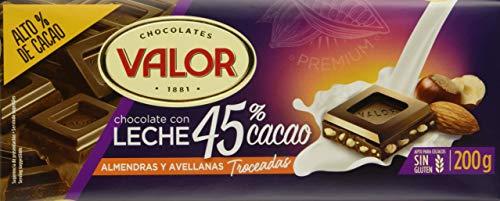 Valor, Chocolate con Leche 45% cacao con almendras y avellanas 200gr - 17 de 200 gr. (Total: 3400 gr.)