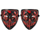 Voilamart Pack of 2 Led Purge Mask LED Halloween Mask Halloween Scary Light up Mask Costume EL Wire Mask for Cosplay Festival Party Halloween (Red, Pack of 2)
