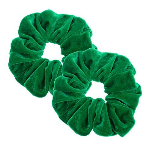 2 Pcs Green Color Large Velvet Scrunchies for Women Hair Ties