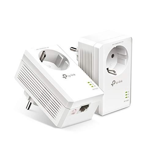 TP-Link TL-PA7017 PKIT AV1000 Gigabit Powerline Adapter mit Steckdose (1x Gigabit Port, Plug und Play, energiesparend, kompatibel zu allen gängigen Powerline Adaptern) weiß