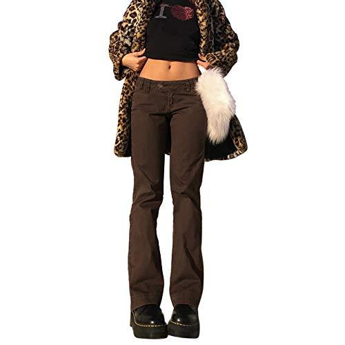 Xsylife Pantalones de mezclilla de cintura alta y pierna ancha para mujer Y2K Straight Patchwork Pantalones A-line Vintage Pencil Pantalones E-Girl Flare Denim, marrón, L
